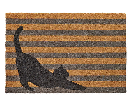 Stretching Cat Grey Stripes Large Doormat