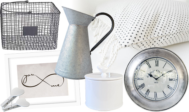 Shop fresh crisp white and silver home decor at French Knot homewares