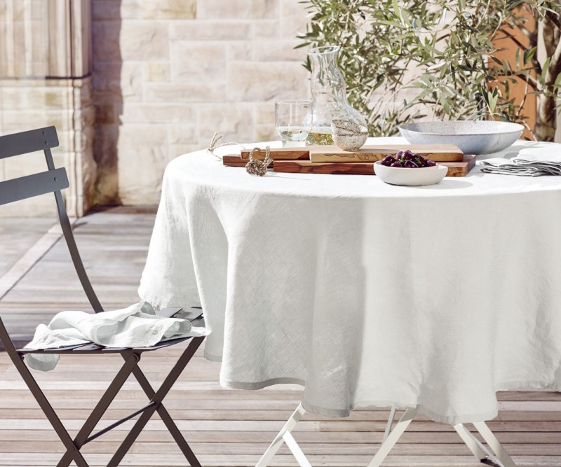 Moss White Round Linen Tablecloth 220cm, Round White Tablecloth