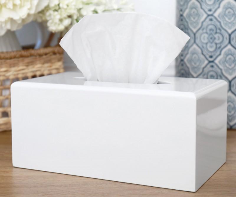White Ceramic Tissue Box Cover