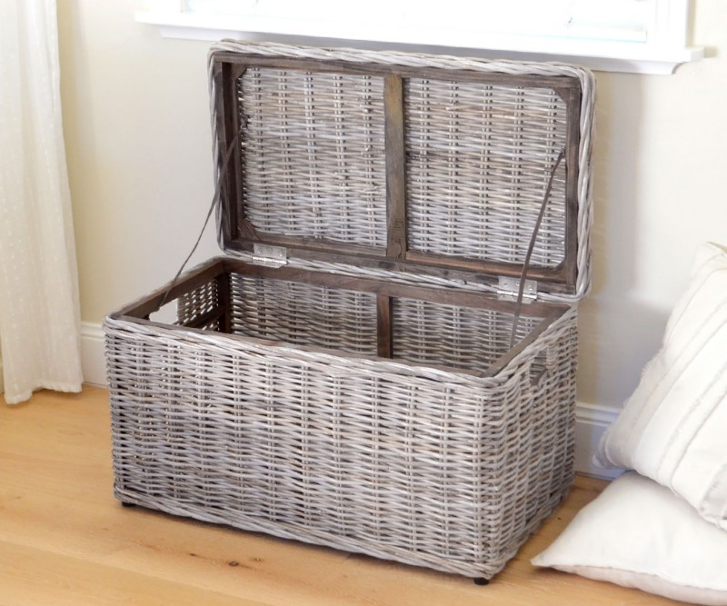Rattan Storage Trunk Blanket Box Greywash